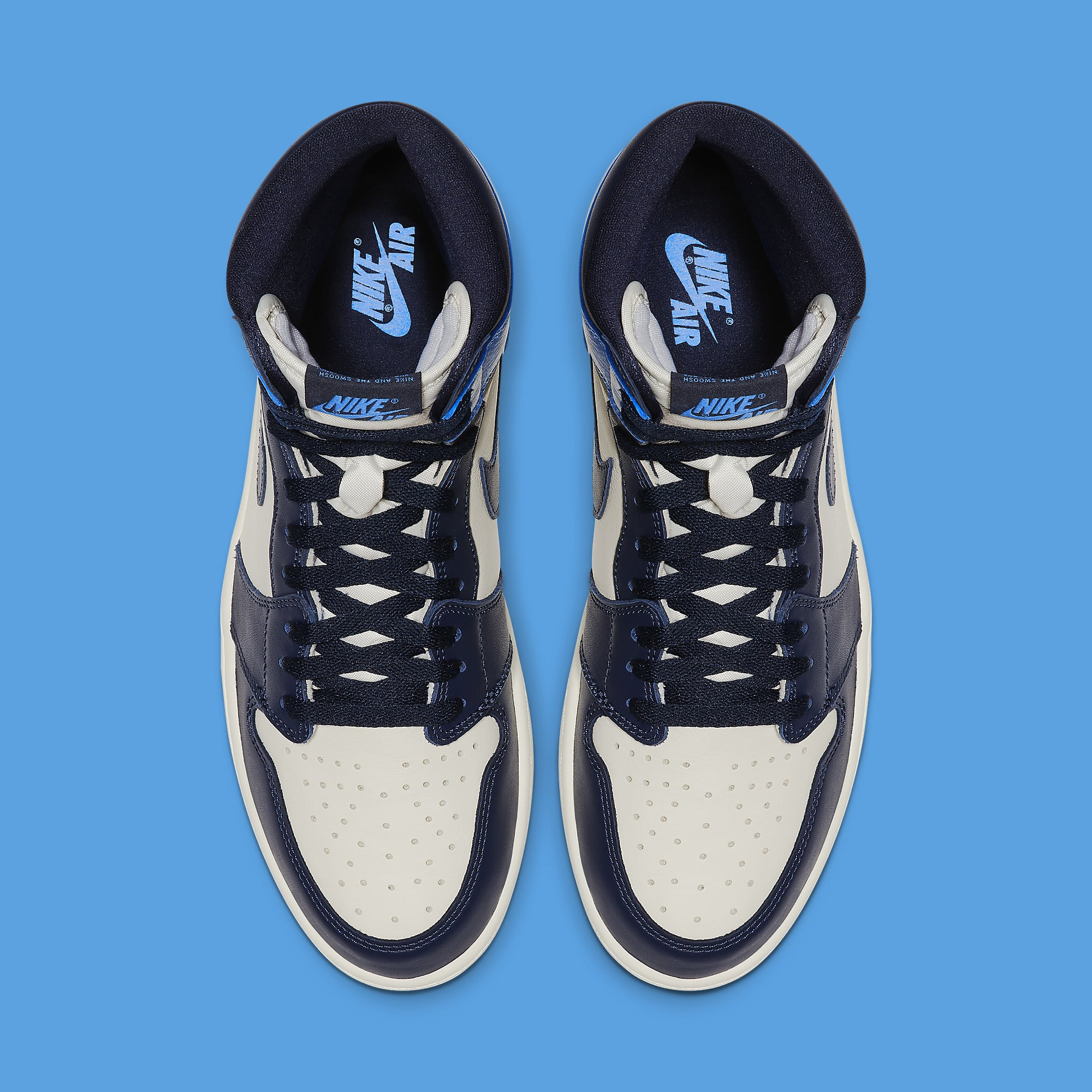 Air Jordan 1 'Sail/Obsidian-University Blue' 555088-140 (Top)