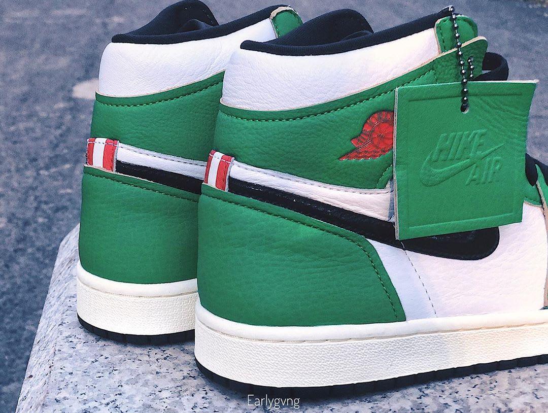 Air Jordan 1 Women's Lucky Green Release Date DB4612-300 Heel