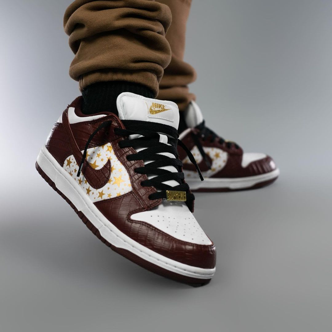 Supreme x Nike SB Dunk Low Brown On-Foot Right Toe