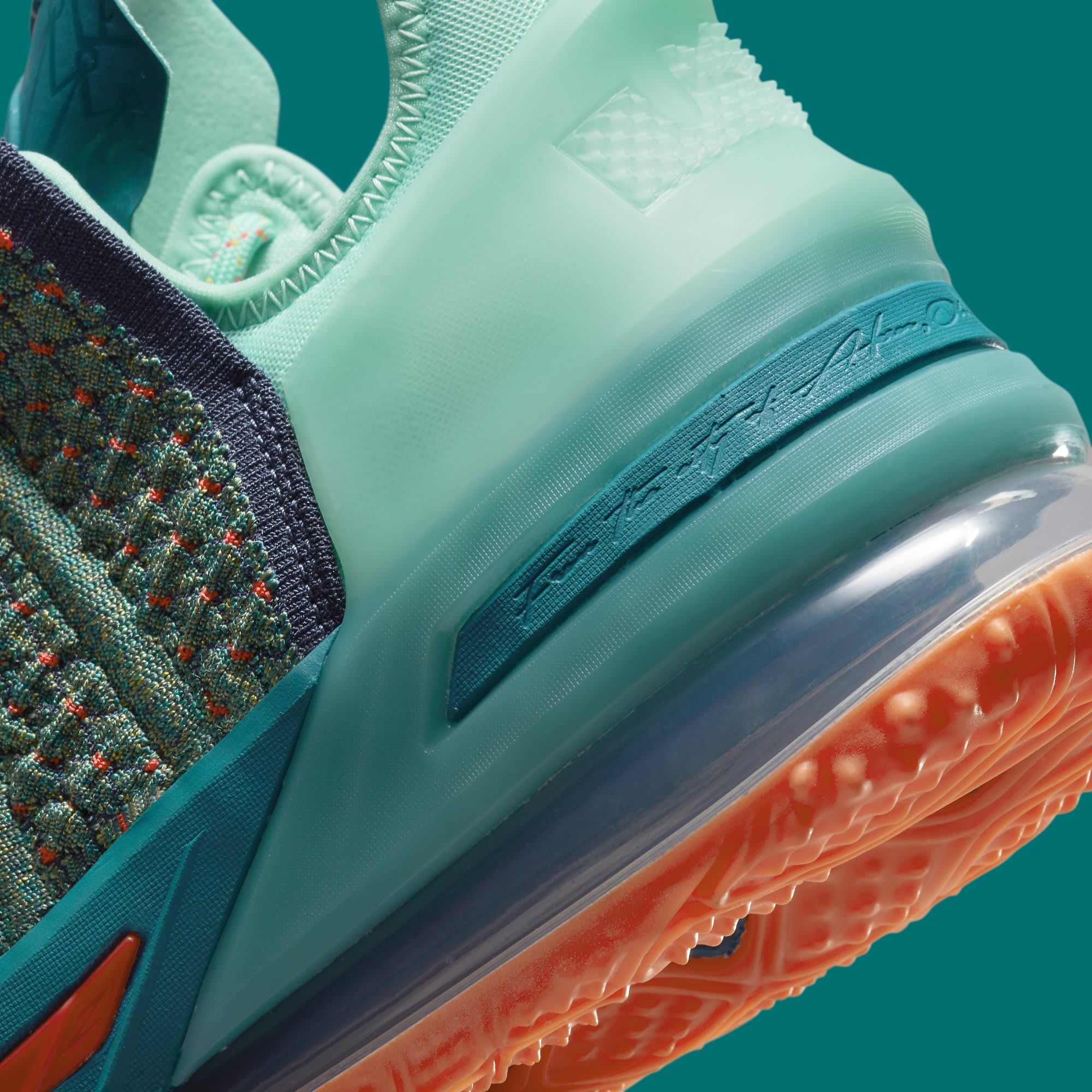 Nike LeBron 18 We Are Family Release Date CQ9283-300 Heel Detail