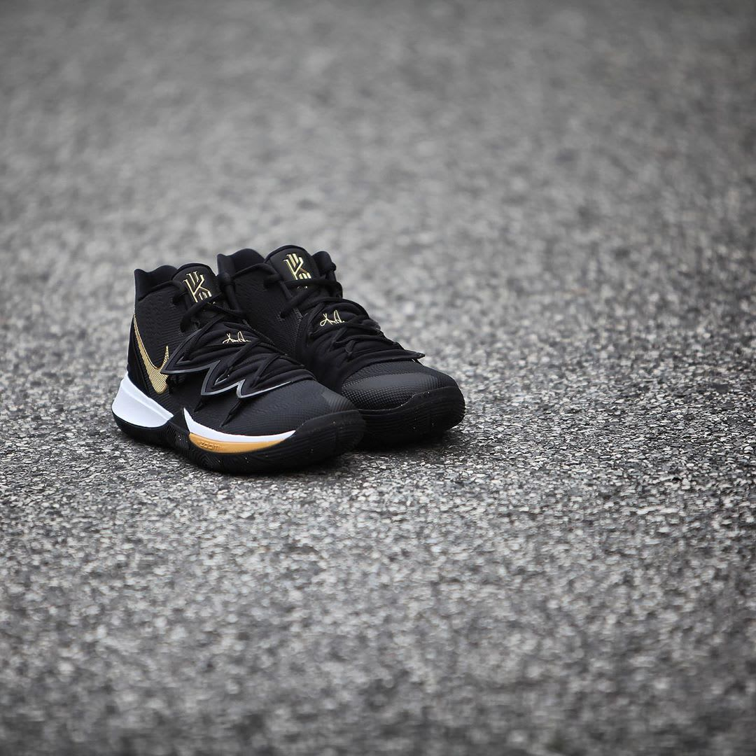 Nike Kyrie 5 Black Metallic Gold White Release Date AO2918-007 Front Angle