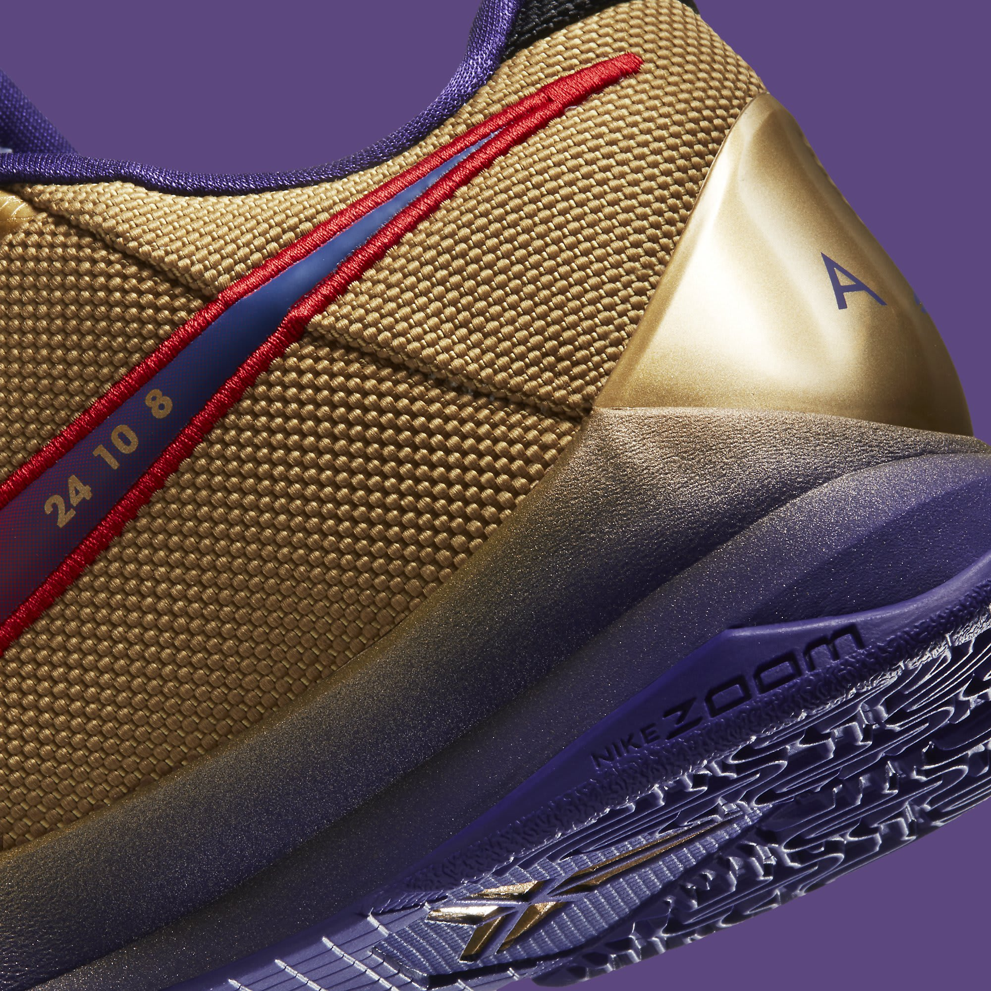 Undefeated x Nike Kobe 5 Gold Hall of Fame Release date DA6809-700 Heel Detail