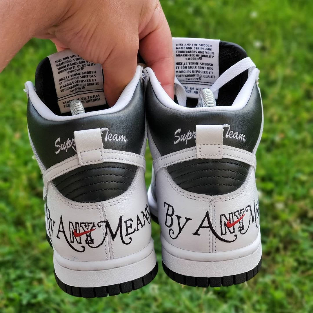 Supreme x Nike SB Dunk High 'By Any Means' (Heel)