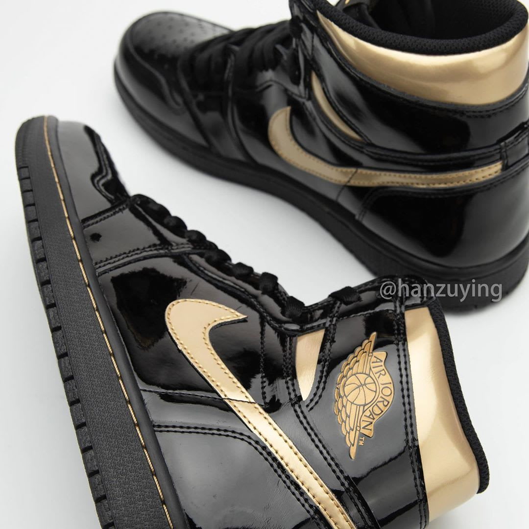Air Jordan 1 High Black Gold Patent Release Date 555088-032 Side