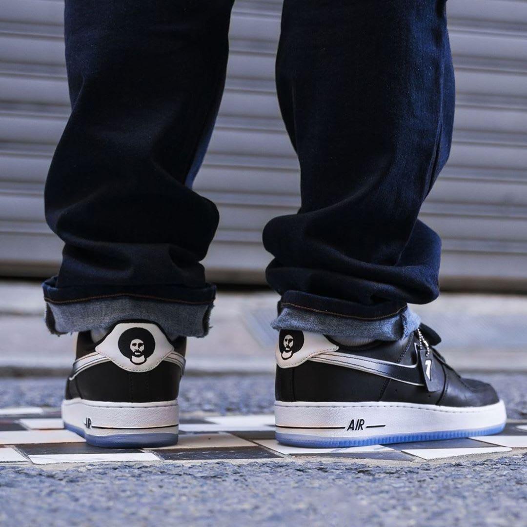 Colin Kaepernick x Nike Air Force 1 Release Date CQ0493-001 On-Foot Heel