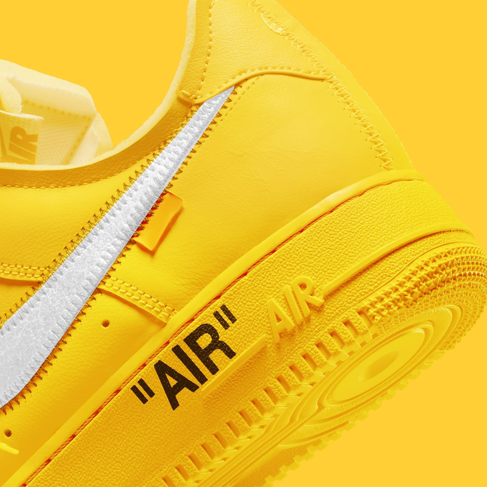 Off-White x Nike Air Force 1 Low 'Lemonade' DD1876-700 Heel
