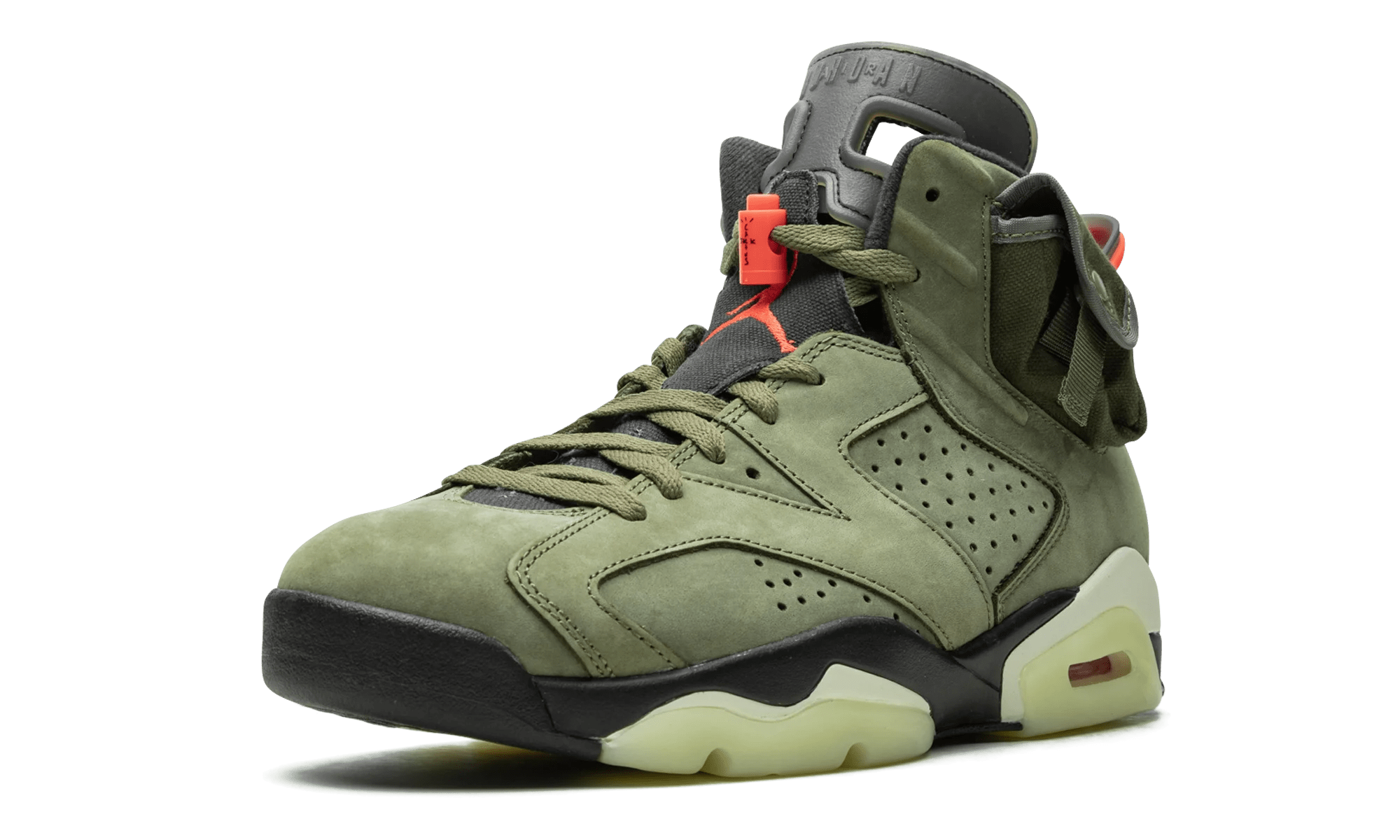 Travis Scott x Air Jordan 6 'Medium Olive/Black/Sail/University Red' CN1084-200 (Front)