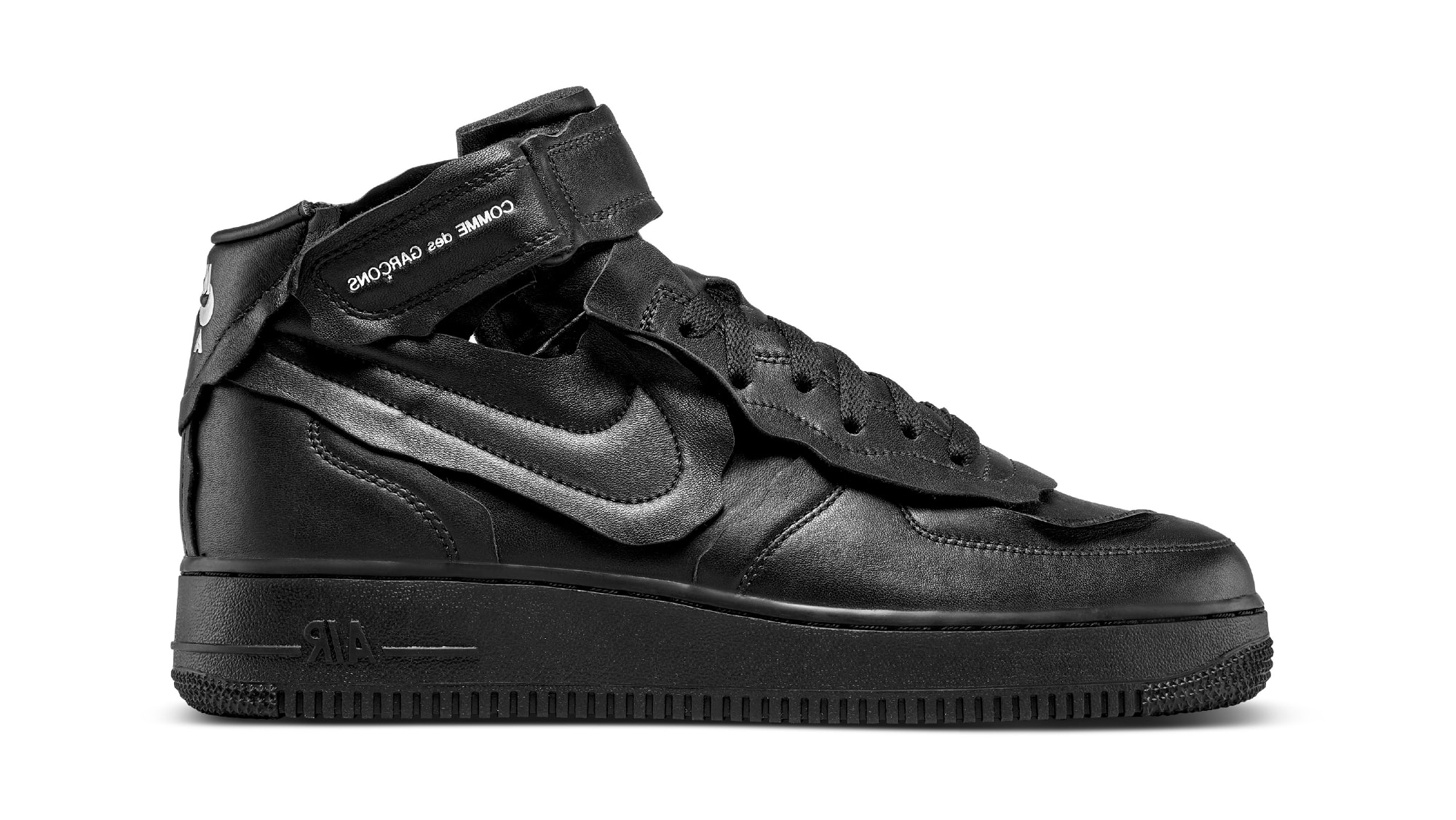 Comme des Garcons x Nike Air Force 1 Mid 'Black' DC3601-001 Release Date