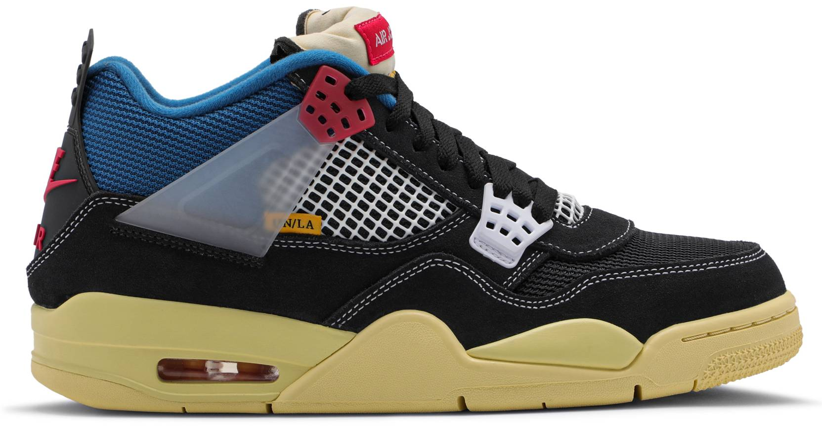 Union x Air Jordan 4 'Off-Noir/Lt Fusion Red/Brigade Blue' DC9533-001 (Lateral)