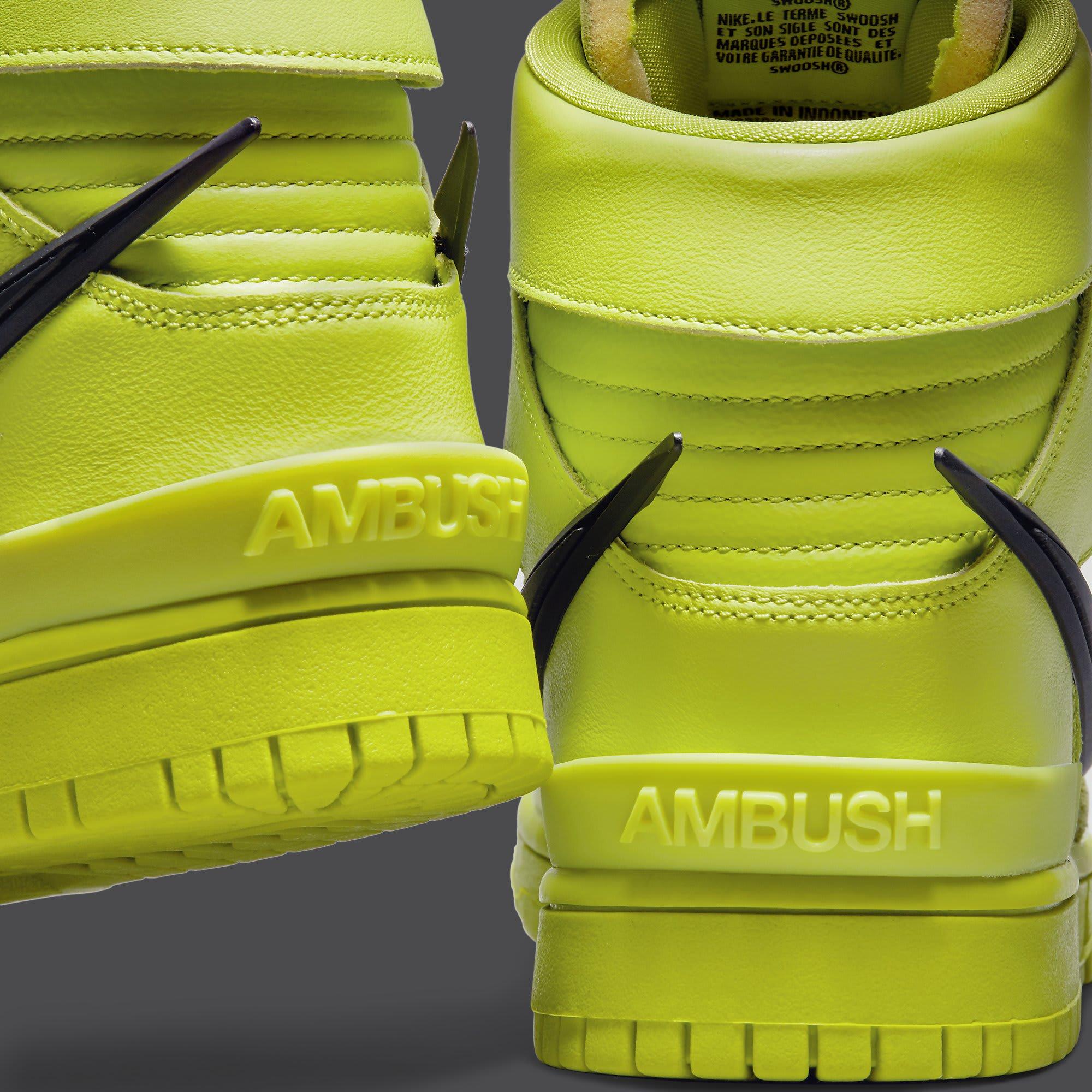 Ambush x Nike Dunk High Atomic Green Release Date CU7544-300 Heel Close