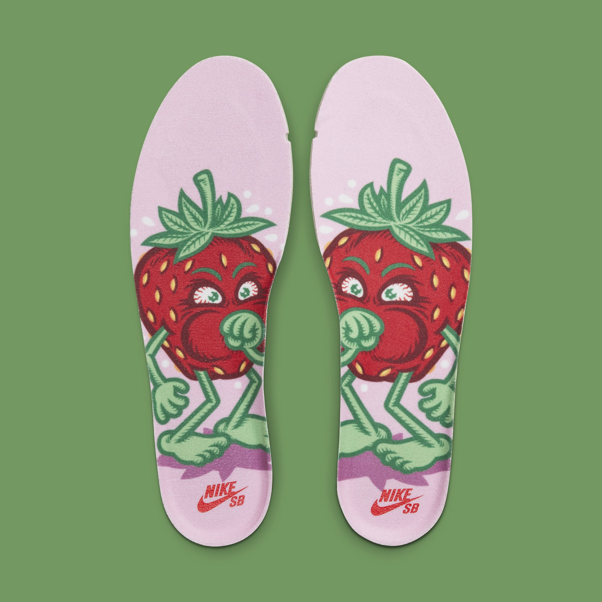 Strawberry Cough x Nike SB Dunk High SW7093-600 Release Date Insoles