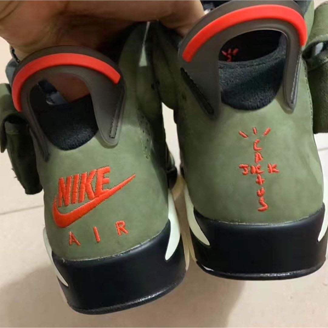 Travis Scott x Air Jordan 6 'Medium Olive' (Heel)