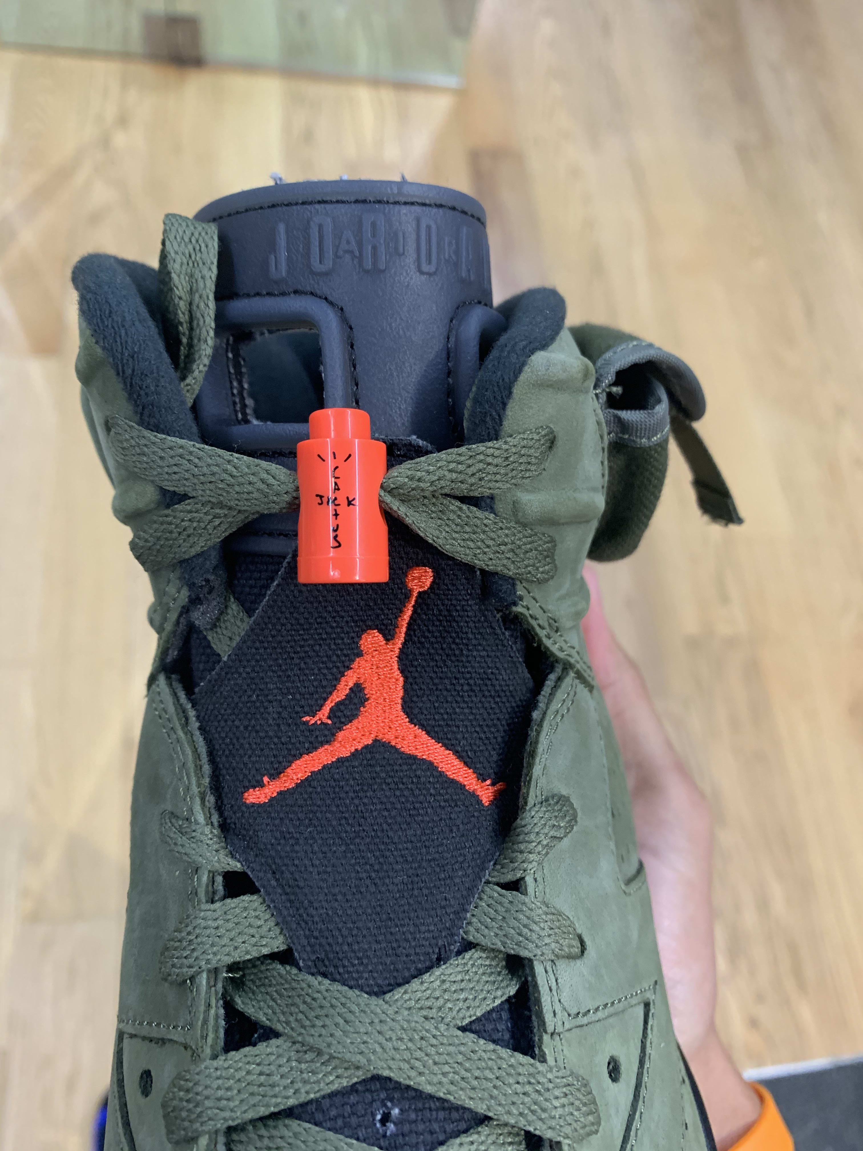 Travis Scott x Air Jordan 6 'Medium Olive/Black/Sail/University Red' CN1084-200 (Tongue)