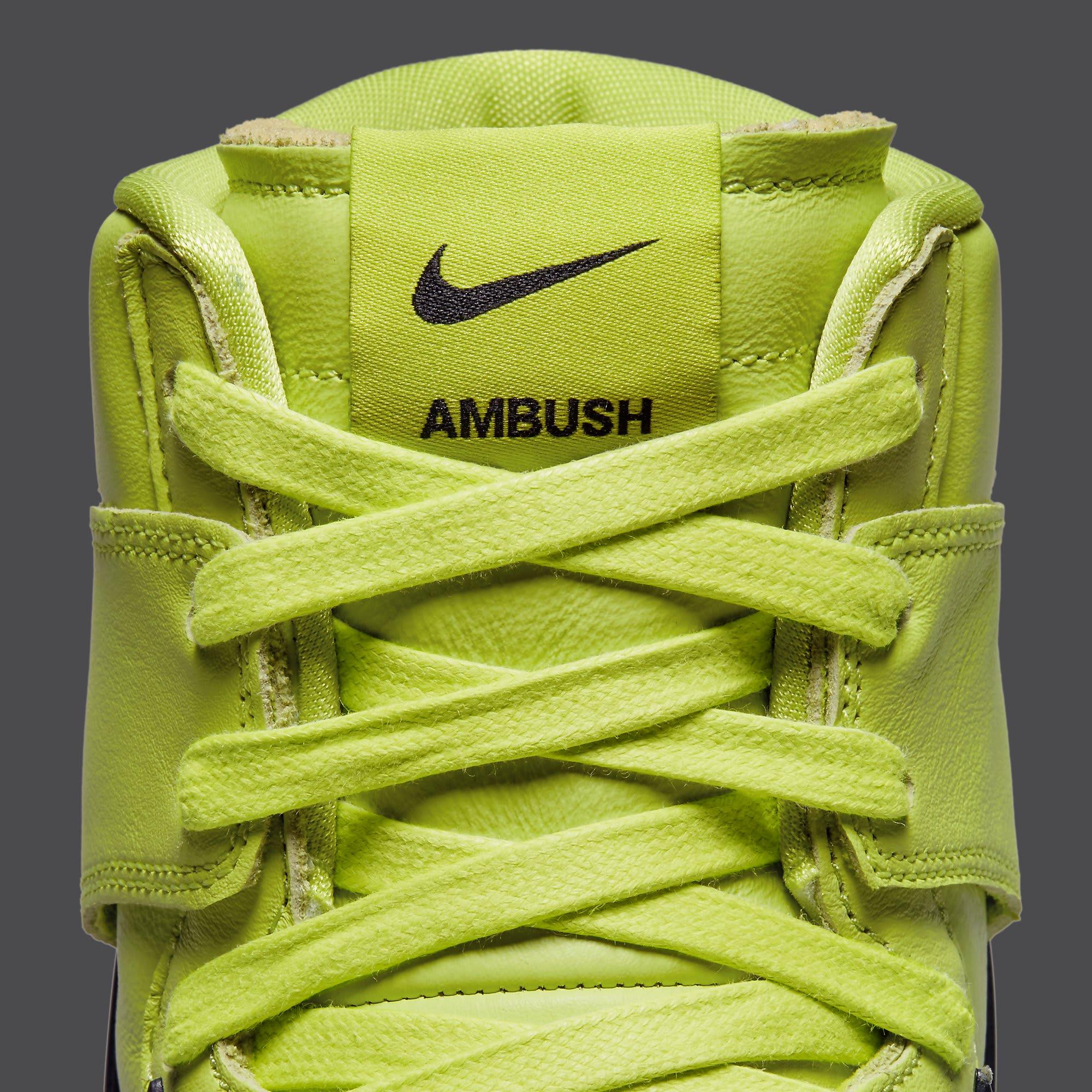 Ambush x Nike Dunk High Atomic Green Release Date CU7544-300 Tongue