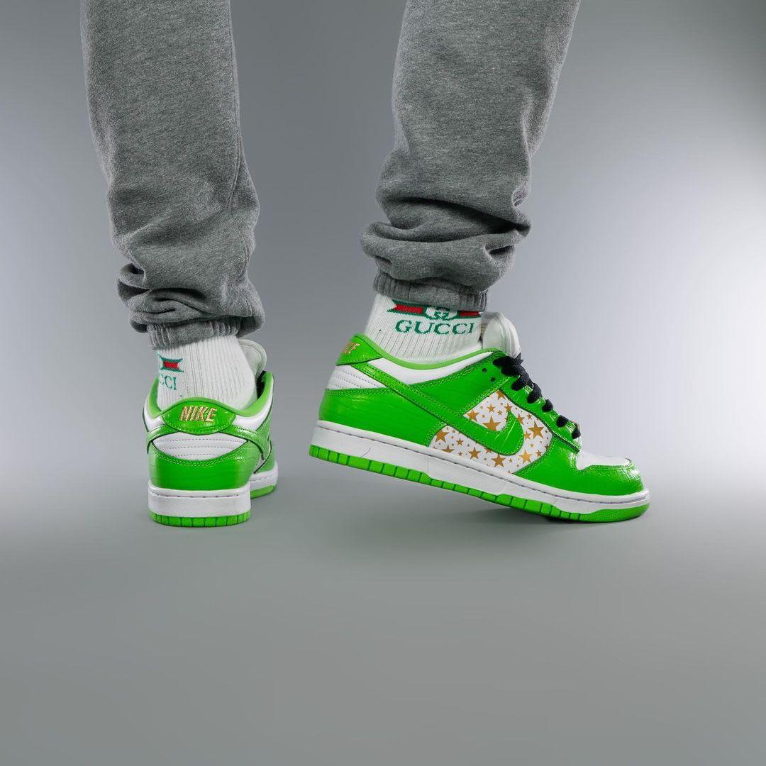 Supreme x Nike SB Dunk Low Green On-Foot Heel