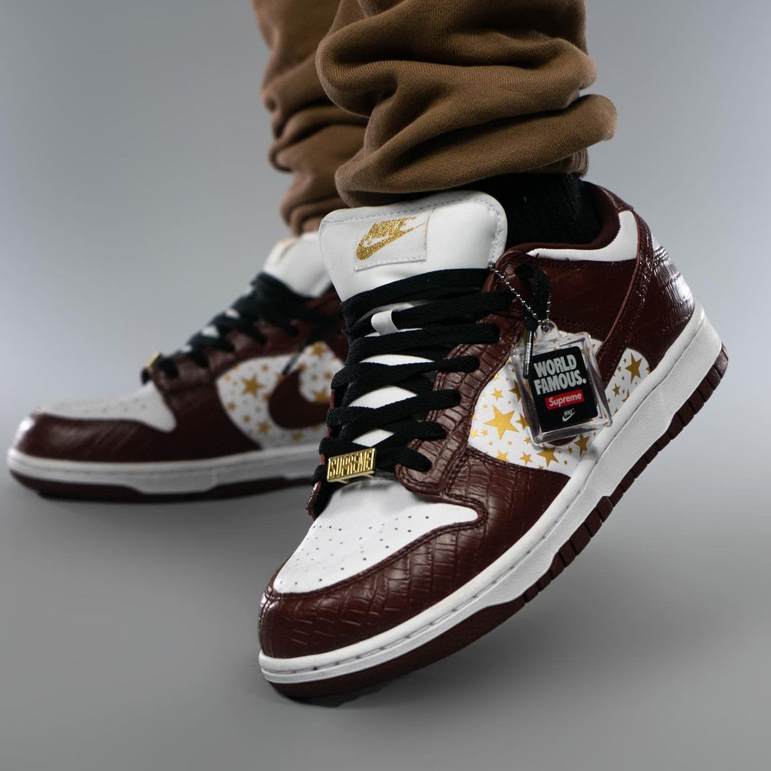 Supreme x Nike SB Dunk Low Brown On-Foot Left Toe