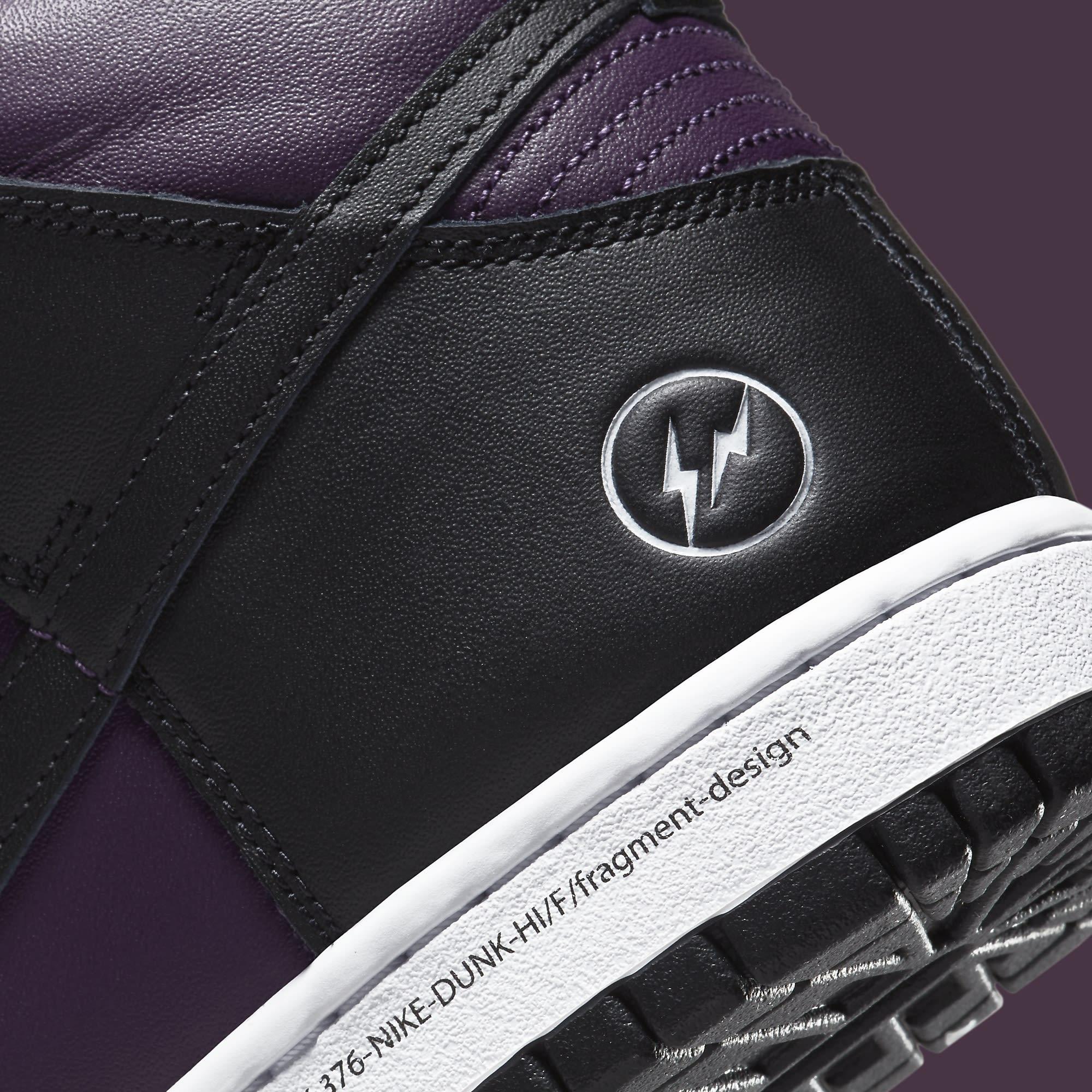 Fragment Design x Nike Dunk High 'Black' DJ0382-600 Heel