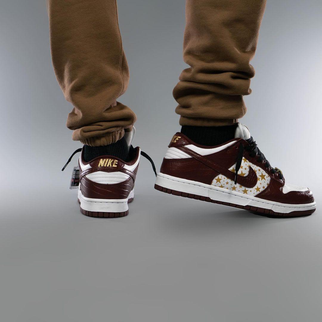 Supreme x Nike SB Dunk Low Brown On-Foot Heel